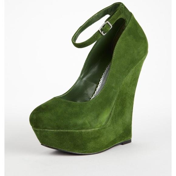 6aefd98990e bebe Shoes | Okra High Heel Ankle Strap Wedge Grnsde Sz 6 | Poshmark